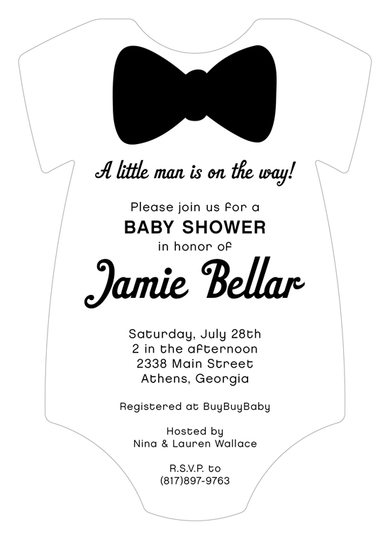 Black Tie Onesie Invitation