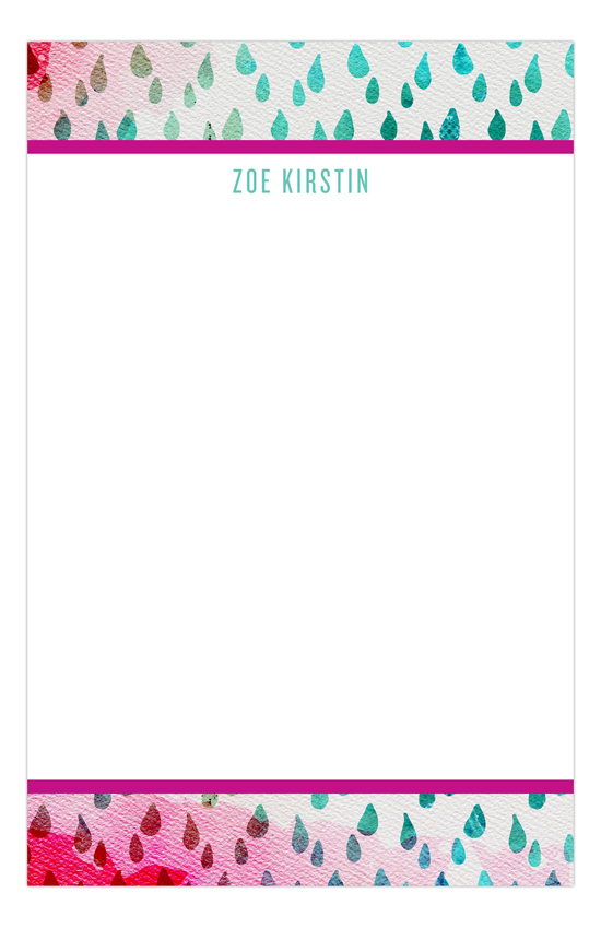 Teal Raindrops with Pink Personalized Notepads