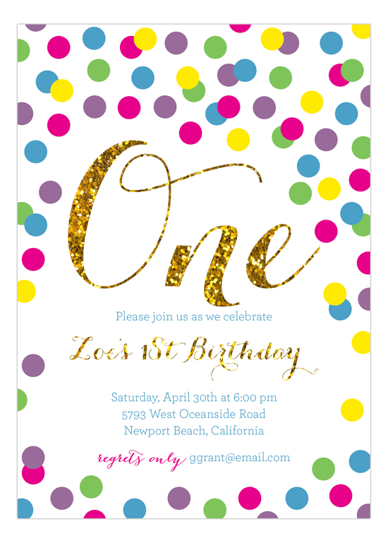 Rainbow Gold Glitter 1st Birthday Invitation