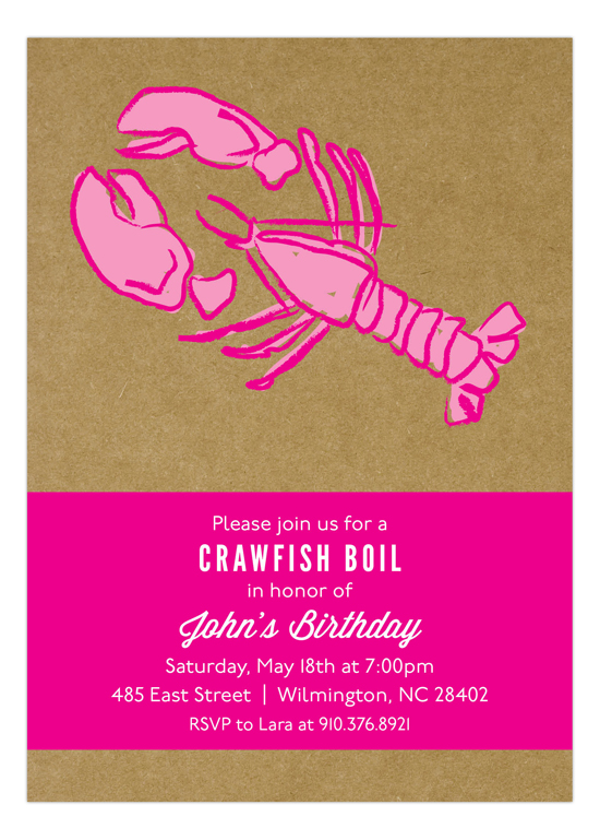 Kraft Pink Crawfish Boil crayfish boil birthday party