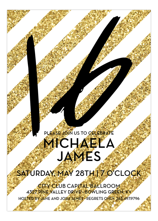 Gold Glitter Stripes Sweet 16 Birthday Invitation