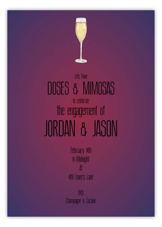 Doses and Mimosas Champagne Engagement Invitation
