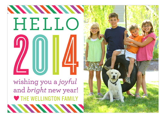 Joyful and Bright Hello New Year Photo Card