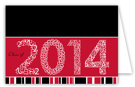 Red Graduation Year Folded Note Card