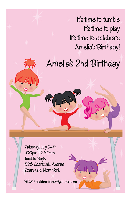 Gymnastics Girls Birthday Invitation
