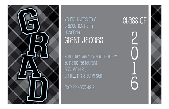 Plaid Grad Black Invitation