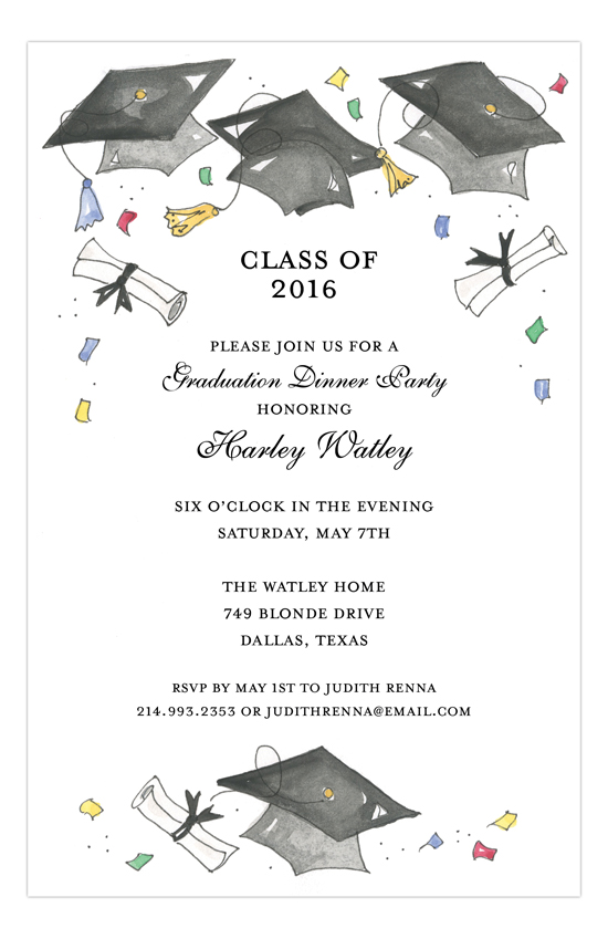 Flying Grad Caps Gray Invitation