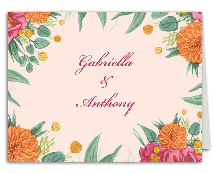 Simply Floral Wedding Suite Thank You Note