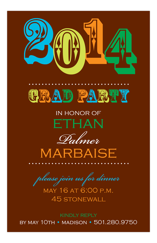 Bold Boy Grad Invitation