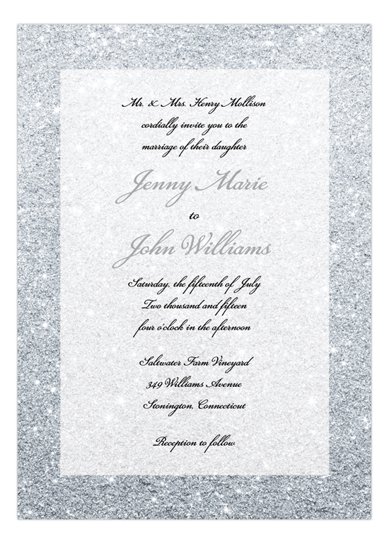 Silver Glitter Ombre Wedding Suite Invitation