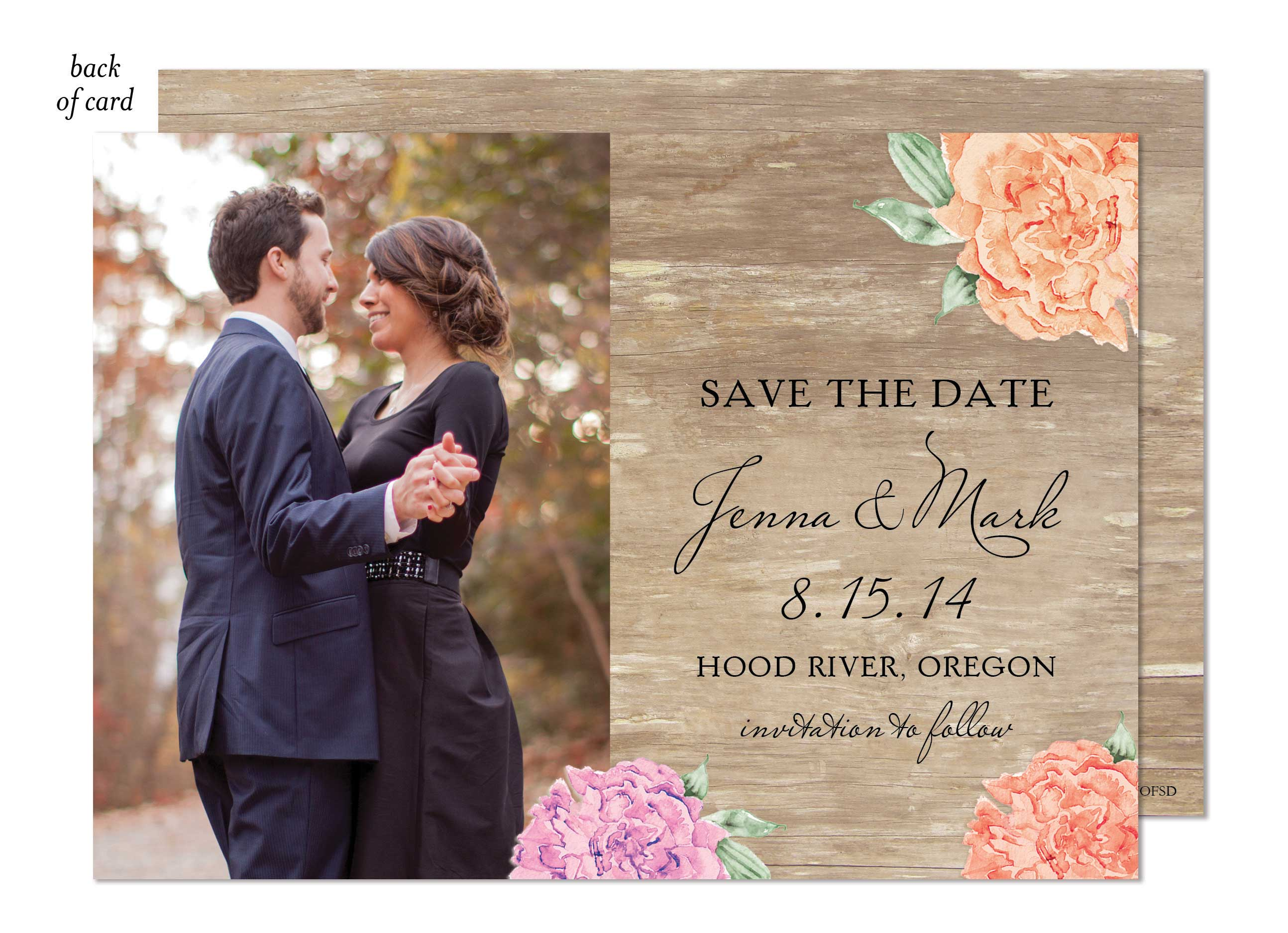 Wood Floral Wedding Suite Save the Date