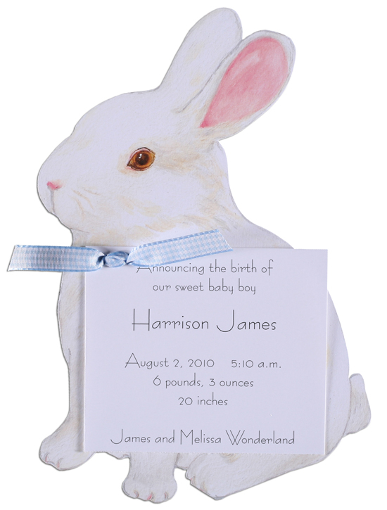 A Bunny Invitation with Blue Ribbon