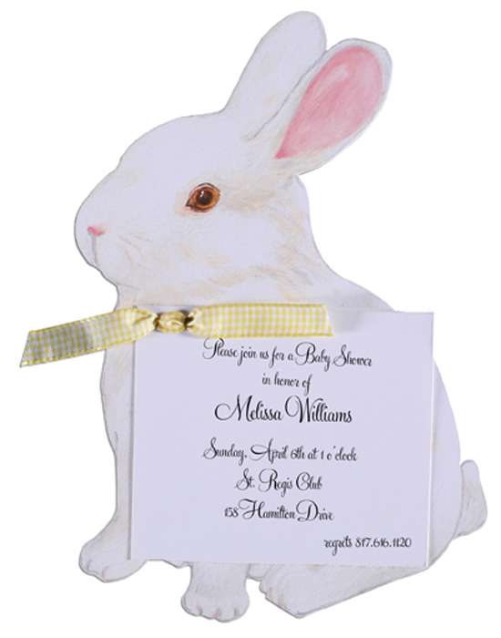 A Bunny Invitation with Yellow Ribbon