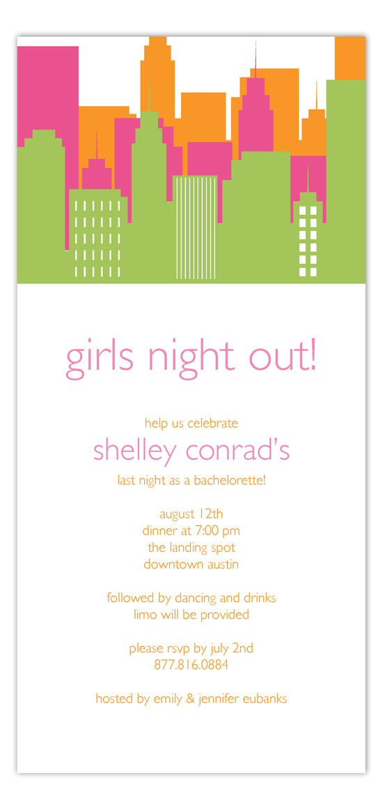 Girls Night Out Bachelorette Party Invitations