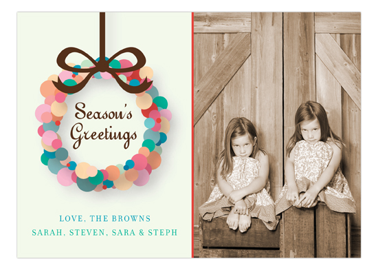 Seasons Greetings Abstract Wreath Photo Card