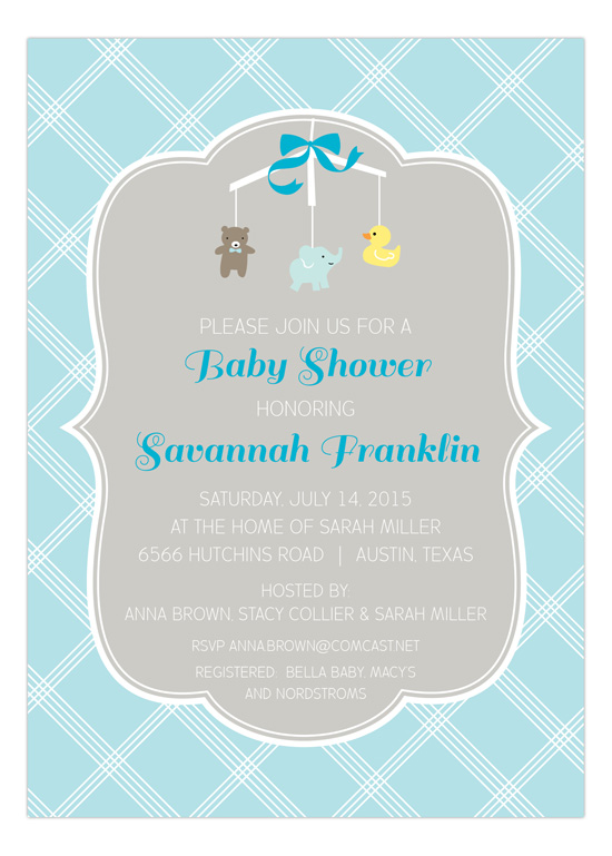 Adorable Blue Mobile Baby Shower Invitation