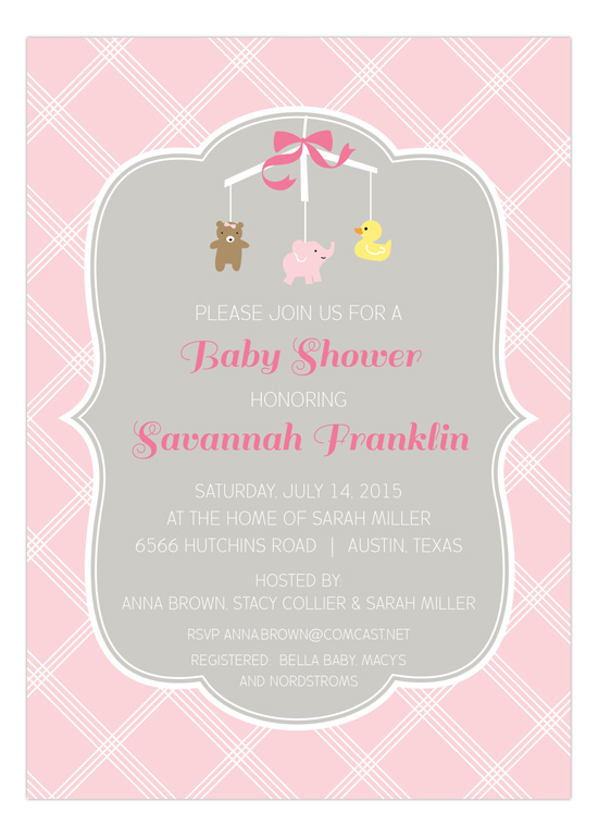 ca9f9c69abbd Adorable Pink Mobile Baby Shower Invitation