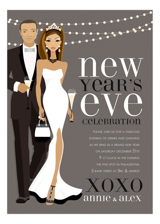 african american bw new year couple invitation