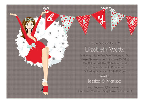 African American Holiday Baby Bunting Invitation