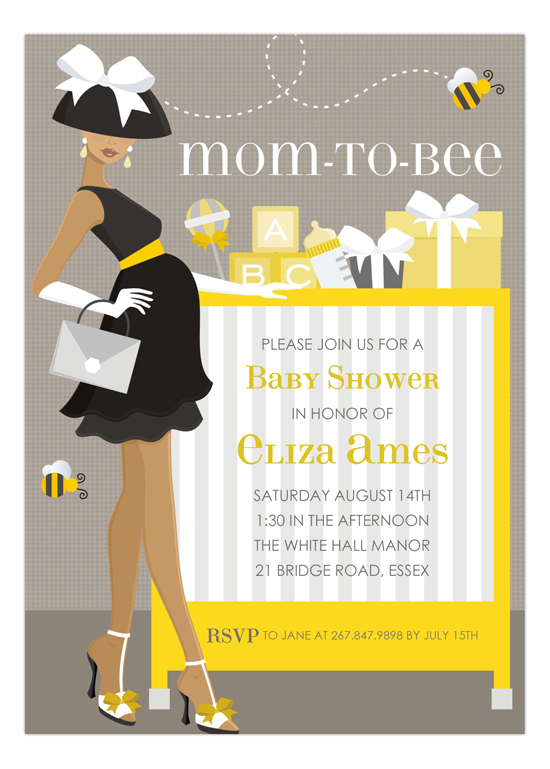African American Mom To Bee Invitation
