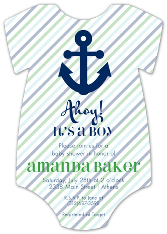 Ahoy It Is A Boy Onesie Invitation