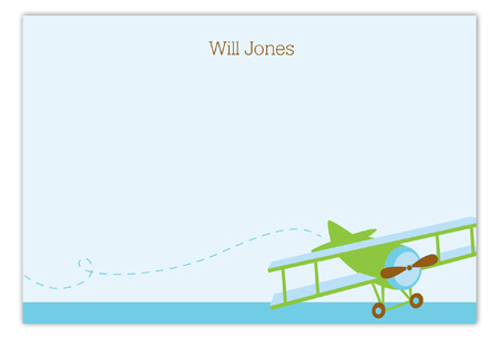Airplane Flat Kids Personalized Note Cards