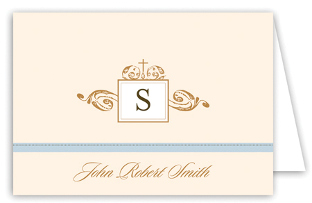 Antique Monogram and Cross Blue Note Card