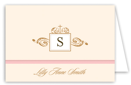 Antique Monogram and Cross Pink Note Card
