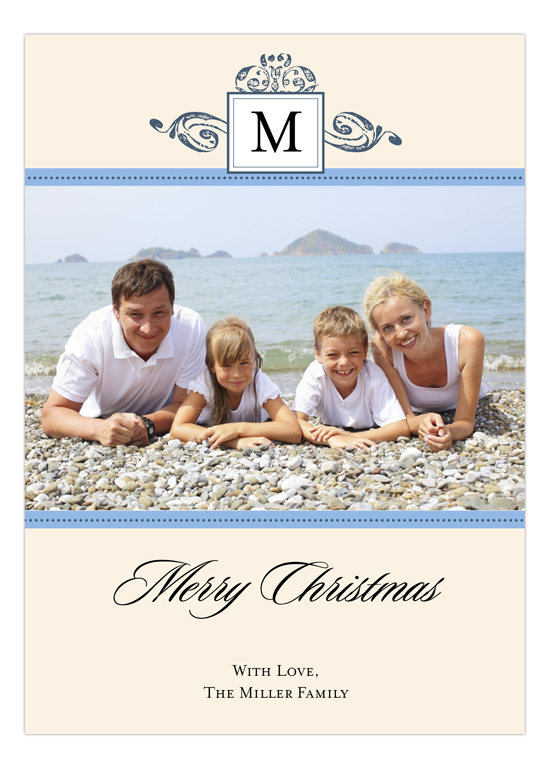 Antique Monogram Holiday Blue Photo Card