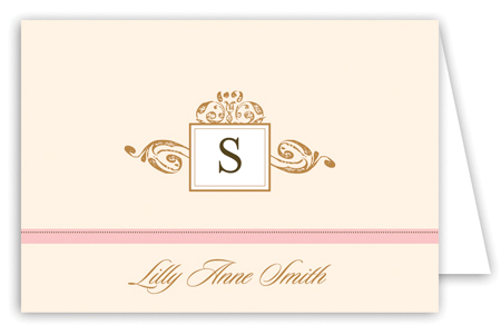 Antique Monogram Pink Note Card