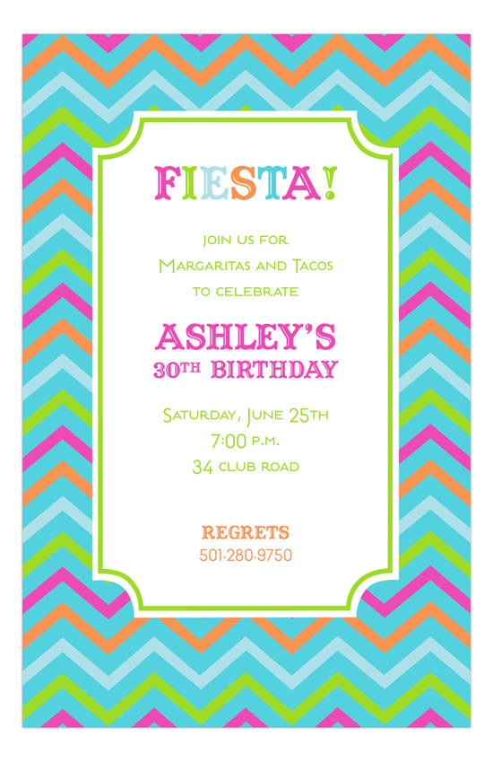 Aqua Chevron Fiesta Invitation