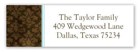 Aqua Damask Cloth Address Label