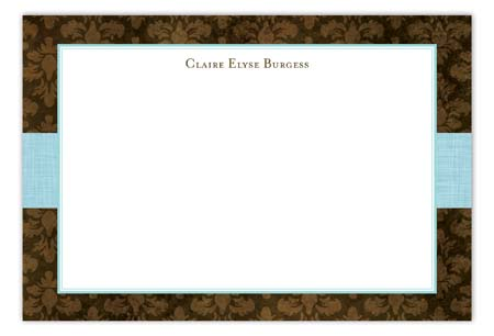 Aqua Damask Cloth Flat Note Card