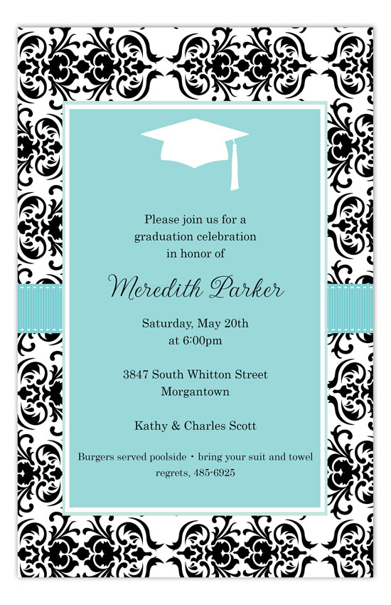 Aqua Damask Graduation Party Invitations
