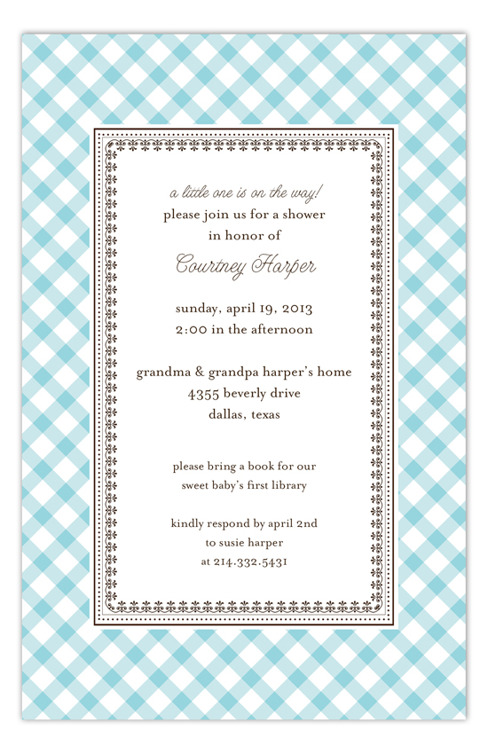 Aqua Gingham Invitation