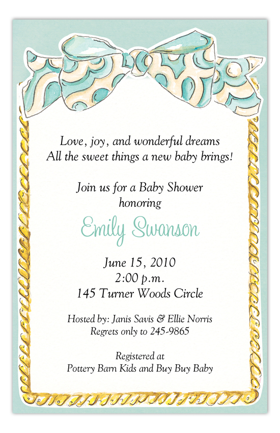 Aqua Sweet Bow Frame Invitation