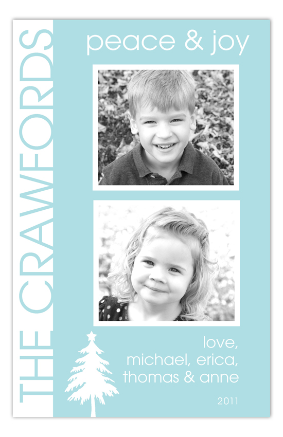 Aqua Tree Silhouette Christmas Photo Cards