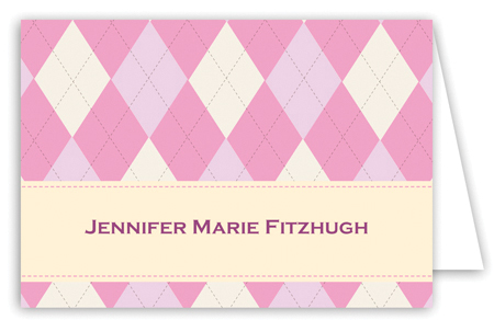 Argyle Pink Note Card