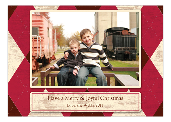 Have a Merry and Joyful Christmas Argyle Red Photo Card