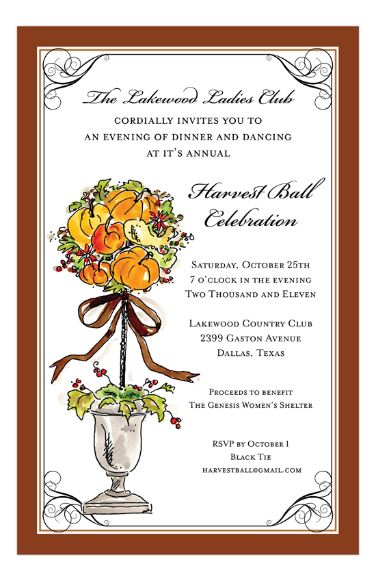Autumn Fall Topiary Invitation