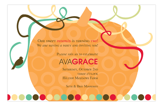 autumn orange pumpkin invitation fall birthday party invitations