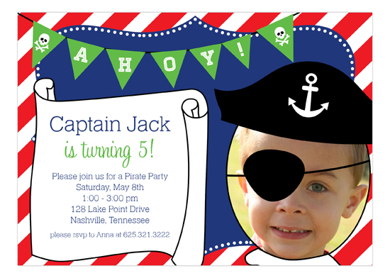 Aye Matey! Captain Pirate Photo Invitation