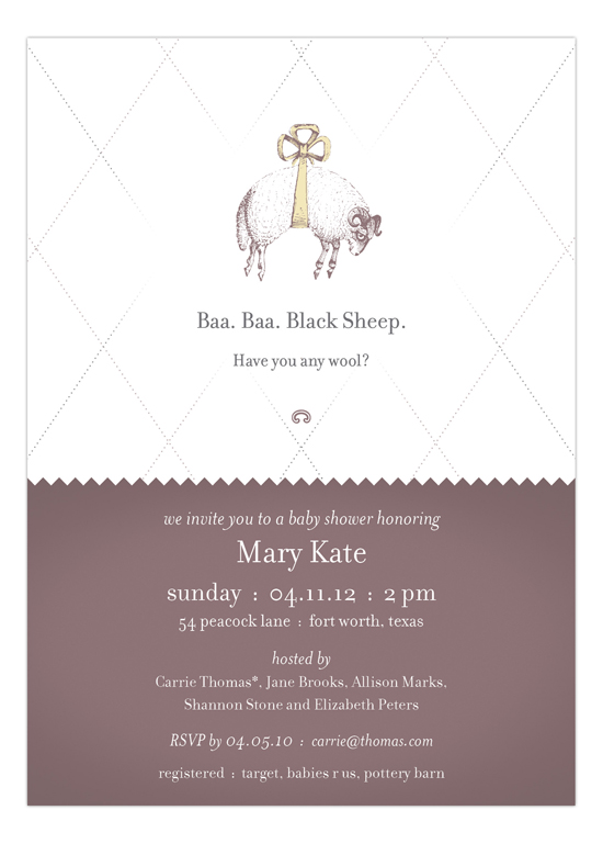 Baa Baa Black Sheep  Invitation