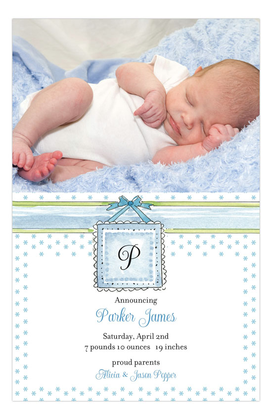 Baby Bed Blue Birth Announcement Photo Card