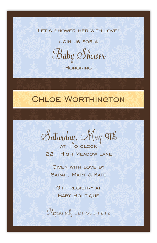 Baby Blue Damask Invitation