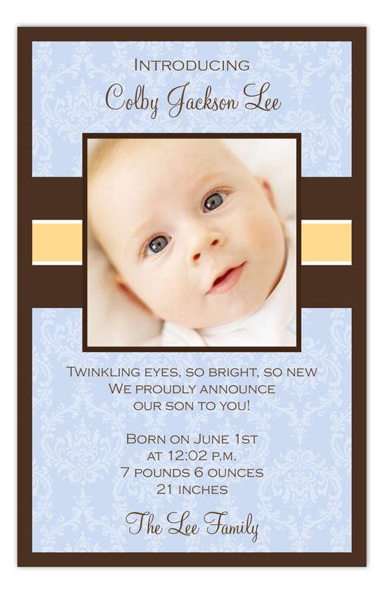 Baby Blue Damask Photo Card