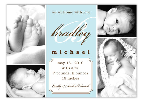 Baby Blue Script Initial Collage Photo Card