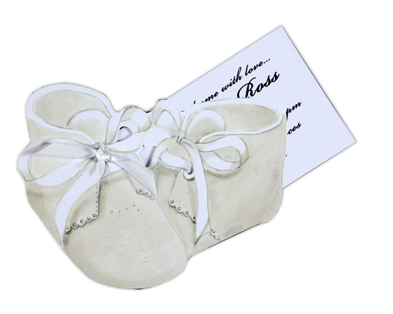 Baby Booties Invitation with White Ribbon