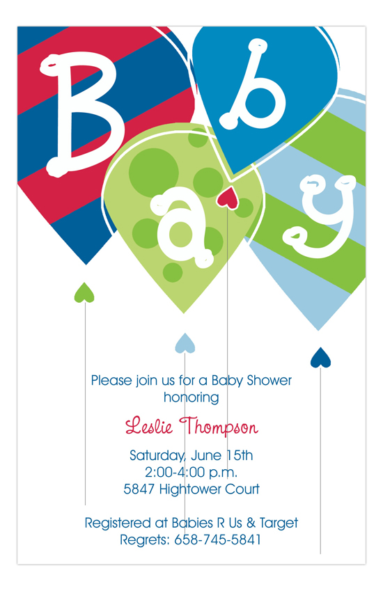 Baby Boy Balloons Invitation