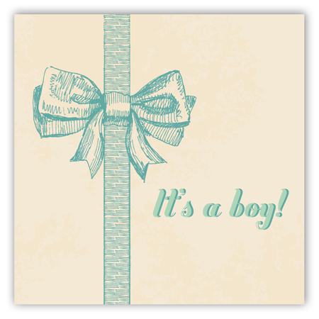 Baby Boy Bow Square Sticker